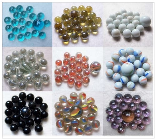 mixed glass marbles